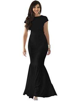 Womens Long Cap Sleeve Elegant Formal Sexy Evening Cocktail Maxi Dress