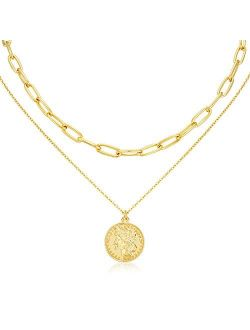 LANE WOODS Layered 18k Gold Plated Necklaces for Women - Multilayer Coin Medallion Pendant Necklace Adjustable Layering Choker Necklaces Chain Set for Women Girls Jewelry