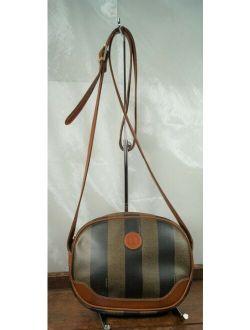 Ge 1980's Fendi Pequin Stripe Coated Canvas Small Crossbody Bag