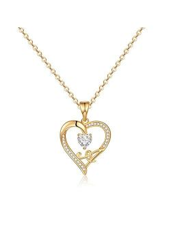 IEFRICH Initial Heart Necklace for Women Girls, Cubic Zirconia Dainty Initial Heart Necklace for Women Teen Girls Jewelry Gifts