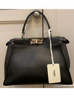 Black Leather Medium Peek A Boo Bag With Granite Resin Bar Nwt