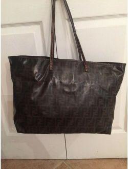 Zucca Pattern Shoulder Tote Bag Large Dark Brown Coated Canvas