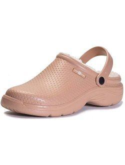 Men's Women's Lined Clogs Waterproof Winter House Slippers Warm Fuzzy Anti-Slip Garden Shoes Indoor Outdoor Mules