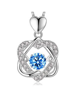 Dancing Heart Necklaces for Women Gifts, Love Pendant Necklace with Diamonds Birthstones from Swarovski,Sterling Silver 18K White Gold Plated, Blue White Rose Gold Charms