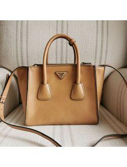 Ntic Prada City Calf Twin Pocket Tote Bag W/ Shoulder Strap Camel Nwt $2450