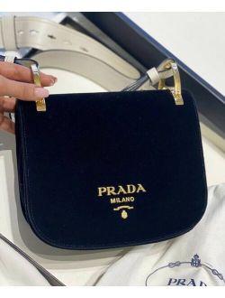 Ntic Prada Pionniere Black Velvet White Leather Shoulder Crossbody Bag