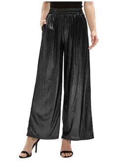 Womens Casual Loose Elastic Shiny Pocket Wide Leg Pants Trousers