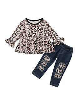 Toddler Girl Clothes Floral Ruffle Tops Shredded Jeans Pants Sets Little Girls Outfits