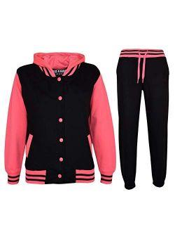 Kids Tracksuit Girls Designer Baseball Plain Top Bottoms Jogging Suits 7-13 Yr