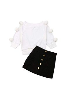 Kids Baby Girl Winter Skirt Outfit Set Ball Ribbed Knit Sweater Shirt Tops + Black Pencil Skirts Fall Clothing Set