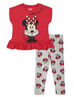 Minnie Mouse Girls Peplum Short Sleeve Top And Leggings Set