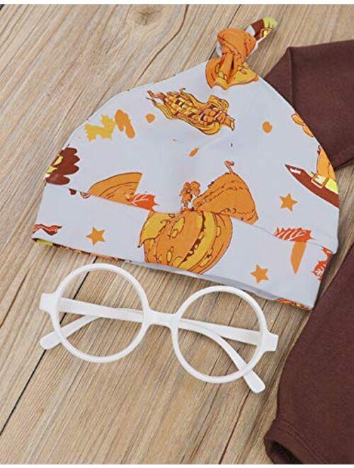 Newborn Baby Girl Boy Thanksgiving Clothes Daddy's Mommy's Little Turkey Romper+Pumpkin Pants + Headband & Hat Outfits Set