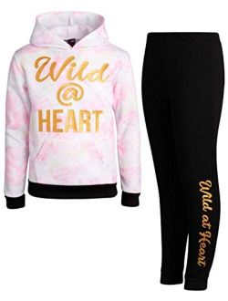 Real Love Girls' 2-Piece Fleece Jogger Pant Set with Sequined Pullover Hoodie