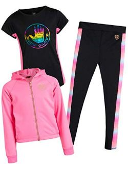 Body Glove Girls' 3-Piece Athletic Jogger Pant Set with T-Shirt and Jacket