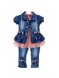 6M-4Years Spring Autumn Baby Girls Clothing Set 3pcs Long Sleeve T-Shirt Denim Jacket and Jeans
