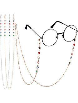 2 Pieces Beaded Eyeglass Chains for Women Colorful Beaded Sunglasses Chain Reading Eyeglasses Holder Strap Cord Lanyard Eyewear Retainer