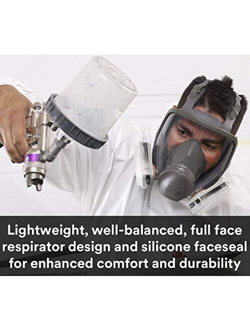 3M Full Facepiece Reusable Respirator 6800, Paint Vapors, Dust, Mold, Chemicals, Medium