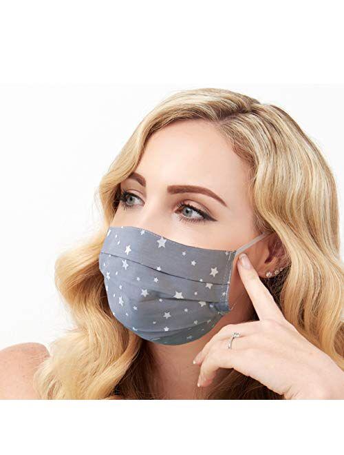 Lilind Christmas Face Mask, Comfortable, Handmade, Reusable, Washable, 100% Cotton, Gray Stars