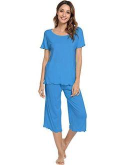 WiWi Womens Bamboo Pajamas Soft Pajama Sets Comfy Short Sleeves Loungewear Plus Size Sleepwear Top with Capri Pants Pjs S-4X
