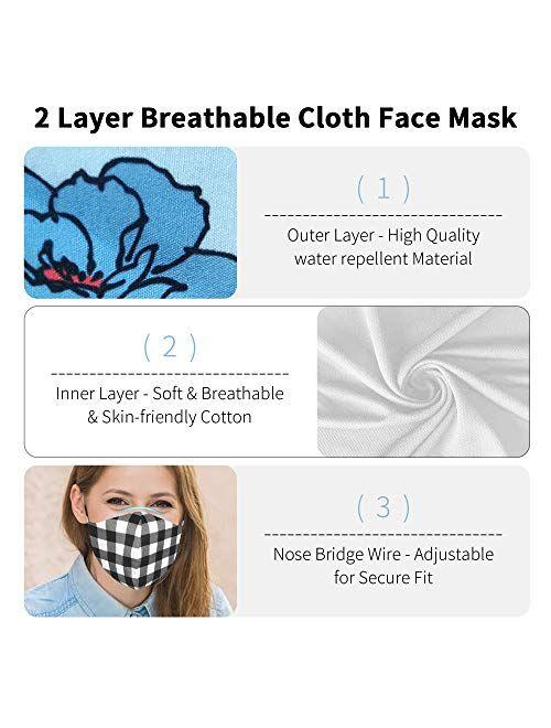 Ababalaya 3 in 1 Cloth Face Cover Reusable Washable Headband Christmas Decorative Bandanas for Women