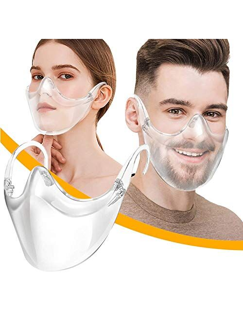 BeiYoYo Durable Clear Face Mask, Reusable Transparent Face Protection, Visible ExpressionBreathable and Prevent Glasses Fog