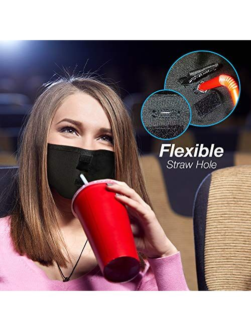 Reusable Face Mask with Straw Hole for Drinking USA Made Washable Face Mask with Drinking Straw Hole Antimicrobial Straw Hole Face Mask for Nose and Mouth - Made in The U