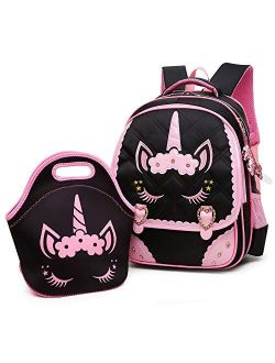 Moonmo Cute Unicorn Face Diamond Sequins Waterproof Princess School Backpack Set Girls Book Bag