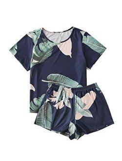 Women's Soft Pajama Sets Tropical Print T Shirt And Short Sleepwear Pjs Sets