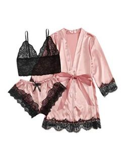 Women's Sheer Lace Bralette And Striped Shorts Pajama Lingerie Set With Robe