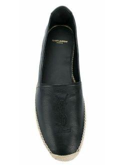 New In Box Saint Laurent YSL Monogram Espadrilles Black Leather Size 42.5 (9.5)