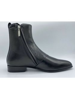 $1,200 Saint Laurent Black Leather Boots Zipper size US 8 Made in Italy