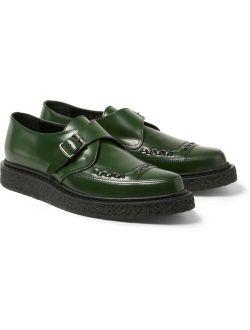 Saint Laurent Hedi Slimane FW14 Green Leather Monk Buckle Creepers sz 41 8