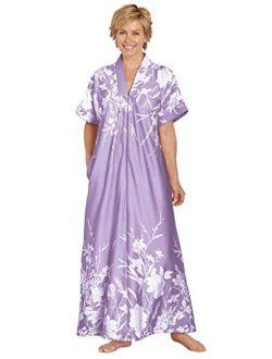 AmeriMark Womens Long Length Caftan - Hawaiian Muu Muu Night Gown with Pocket
