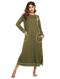 Women's Nightshirt Long Sleeve Nightgown Round Neck Sleepwear Full Length Pajama Dress With Pockets Loungewear S-xxl