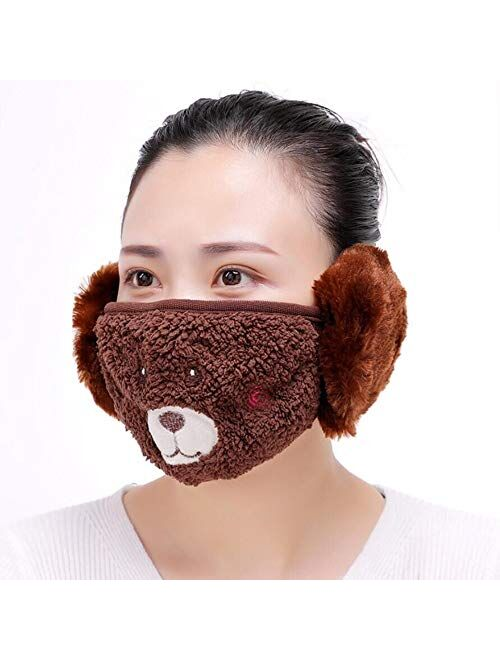 HKBGS Reusable Windproof Anti Dust Half Face Mask Mouth Masks with Earmuffs Warm mask Lady
