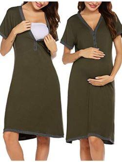 Women's Nursing Nightgown Maternity Dress Short Sleeve Breastfeeding Sleep Dress Delivery Nightwear S-xxl