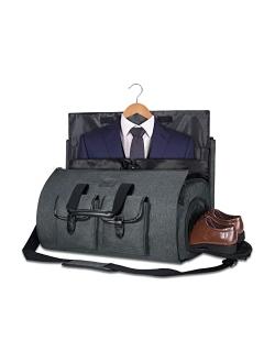 Carry-on Garment Bag Large Duffel Bag Suit Travel Bag Weekend Bag Flight Bag with Shoe Pouch for Men Women (Dark Grey2)