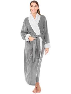 Women's Warm Fleece Robe, Long Plush Sherpa Bathrobe