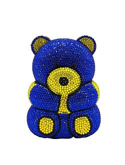 Bear Evening Bags and Clutches for Women Formal Party Cocktail Rhinestone Minaudiere Animal Purse Handbag