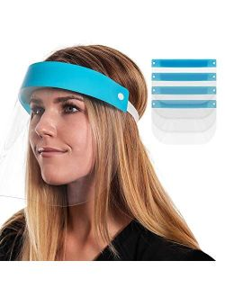 Salon World Safety Face Shields (Pack of 10) - Ultra Clear Protective Full Face Shields to Protect Eyes, Nose and Mouth - Anti-Fog PET Plastic, Elastic Headband - Sanitar