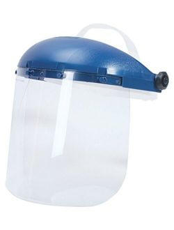 Sellstrom 390 Series Blue Plastic Crown Protective Faceshield with Pin Lock Headgear (Various Size and Style Options)