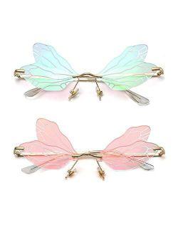 LASPOR Dragonfly Rimless Sunglasses for Women Vintage Gold Metal Frameless Butterfly Glasses UV400 Protection Eyewear