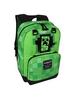 """JINX Minecraft Creepy Creeper Kids School Backpack, Green, 17"""", Green, N/A"""