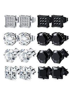 JOERICA 8 Pairs Stainless Steel CZ Stud Earrings Set Men Women Unisex Ear Piercing Jewelry