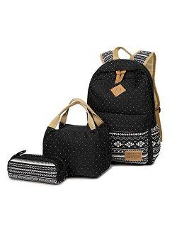 Teen Girls School Backpack, School Bag Bookbags with Lunch Box Pencil Case