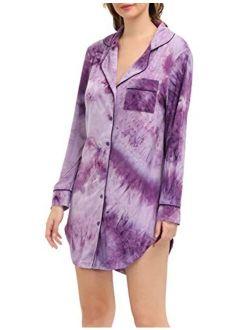 Zexxxy Nightgown Women Boyfriend Pajamas Long Sleeve Button Down Sleep Shirts Dress S-XXL
