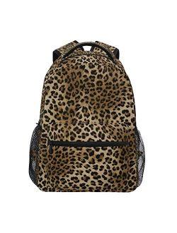 ZZKKO Leopard Print Vintage Backpacks College School Book Bag Travel Hiking Camping Daypack