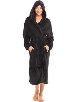 Women's Soft Fleece Robe With Hood, Warm Bathrobe
