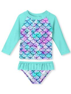 UNIFACO Toddler Girls Swimsuit Rashguard Set Summer Beach Breathable Tankini with UPF 50+ Sun Protection 2-8T
