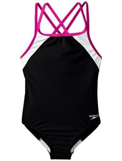 Girl's Swimsuit One Piece Solid Cross Back Multi Straps